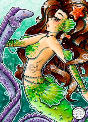 #177 Green dotted Mermaid