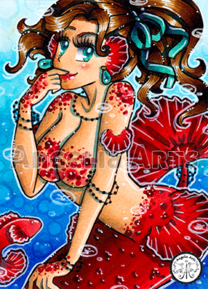 #179 Red dotted Mermaid